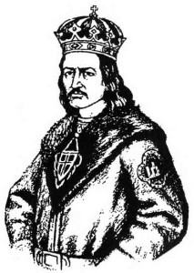 The dynasty began by Gediminas in Lithuania was continued in Poland by Jogaila. In the above drawing, Jogaila is shown wearing the Gediminaičiai family crest on his arm.