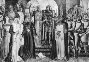 In 1429 Vytautas (shown on the right in center of picture) invited the rulers of central and eastern Europe to his fortress of Lutsk for a peace conference. Holy Roman Emperor Sigismund proposed that Vytautas be crowned King of Lithuania. For all practical purposes, Vytautas was already a powerful king. (Mural by S. Ušinskas, which was exhibited at the 1939 New York World's Fair).