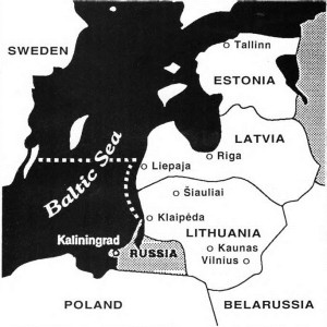 """Route of the real """"Red October"""", commandeered by Capt. Jonas Pleškys. It first sailed north from Klaipėda and bypassed Liepaja in Latvia. Then suddenly it turned westward and headed for Sweden."""