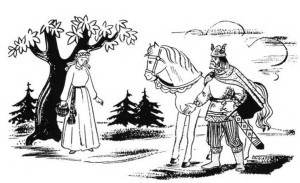The legendary meeting of Birutė and Kęstutis is fancifully portrayed by children's book illustrator Povilas Osmolskis.