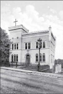 Girardville's first Lithuanian Catholic church was located in the old National Guard Armory building (from an old postcard)