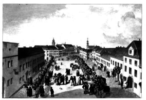 Vilnius during the mid-18th century was a bustling city. This contemporary engrav­ ing shows Town Hall Square and Didžioji Street. The spire of St. Johns church and Vilnius Cathedral can be seen in the back­ ground.