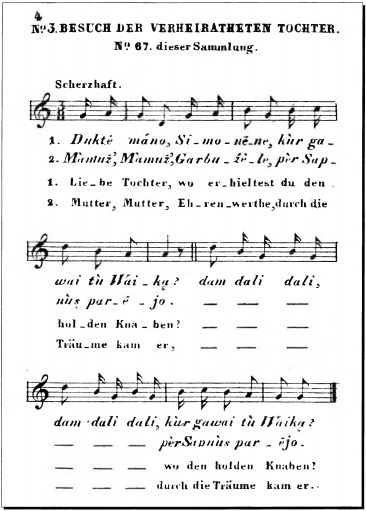"Page from ""Dainos oder Litauische Volkslieder"" (Dainos or Lithuanian Folksongs), published by Liudvikas Rhesa (Rėza) in Berlin in 1825. The song goes something like this: ""My daughter, my daughter, where did you get the child? Dear mother, dear mother, he came to me in a dream..."" Really?"