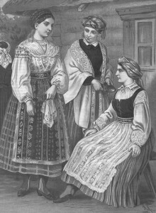 Women of Lithuania Minor dressed in their native costumes. 19th century lithograph by the German artist A. Kretchmer.