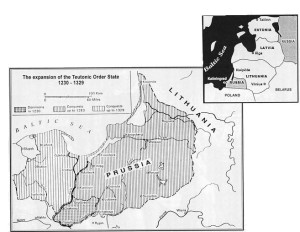 During a period of about one hundred years, the Teutonic Order conquered all the lands of the Old Prussians and became a threat to both Lithuania and Poland. The Karaliaučius (Kaliningrad) region, shown in the map on the right, was invaded by the Soviet Union during the Second World War and subsequently colonized. Today this Russian fortress is a threat not only to the three Baltic States, but to the entire northeastern region of Europe.