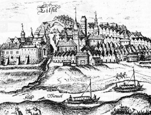 The city of Tilžė (Cer. Tilsit), shown here in a 17th century engraving, was considered as the true capital of Lithuania Minor.