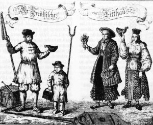 """""""Lithuanians of Prussia"""" by T. Lepner, first published in Danzig (Gdansk) in 1744. The boy in the picture is holding amber-gathering tools."""