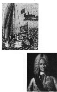 Left: In this contemporary engraving by A. F. Zubov, Catherine is shown sailing with Peter the Great on the Neva river. The ascent of the Lithuanian peasant girl to the Russian throne was quick. Below: Alexander Menshikov, a Lithuanian adventurer and Martha's lover, became Peter the Great's closest friend, adviser and the most influential man in Russia.