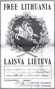 Form used by the Tautos Fondas (Lithuanian National Foundation) to collect donations for Lithuania