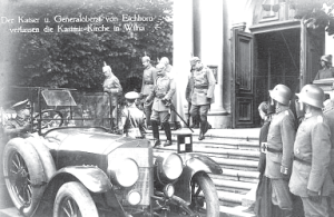 Kaiser Wilhelm II and Army Commander General H. von Eichhorn visit Vilnius Cathedral