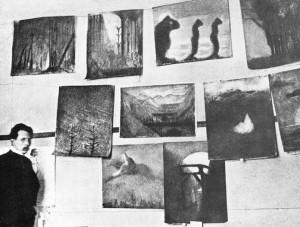 Rare photograph of Čiurlionis in his Warsaw studio in 1904.
