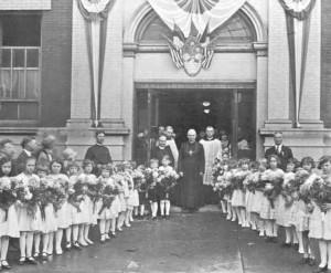 Archbishop Matulaitis being received at Our Lady of Vilnius Lithuanian Parish in Chicago in 1926