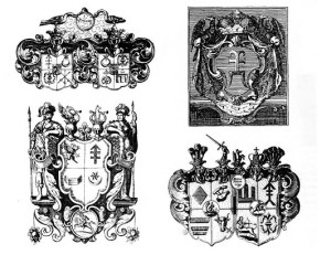 By the 16th century the unpretentious coat-of-arms of most Lithuanian bajorai families had developed into fanciful creations due to marriages between families and the addition of all sort of ornamentation. But in the above examples one can still see many linear and ancient elements such as crosses, arrows, stars, the half-moon, etc