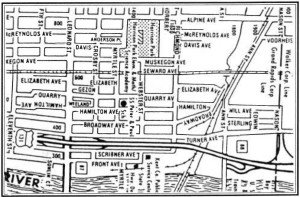 "Map of the area in Grand Rapids, Michigan which the author calls ""Old Lithuanian Town."""