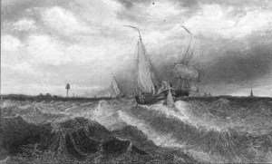 Boats approaching the Palanga harbor. (Early 19th century etching by Alexander Orlowski).