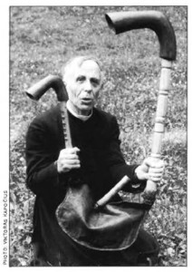 The pastor of Labanoras holds a bagpipe-like instrument called dūdmaišis or Labanoro dūda known since the 16th century or earlier.