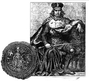 Among the many other historical paintings created by Jan Matejko is this one of Vytautas the Great seated on his throne. It is obviously based on Vytautas' majestic seal, shown below