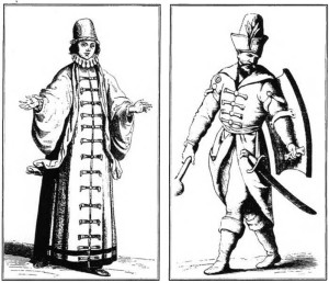"A Lithuanian bajorė from Gardinas (Grodno), and an armed bajoras. (From ""Ancient and modern costumes of the entire world"" by C. Vecellius, Venice 1598.)"