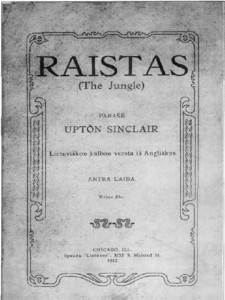 "Cover of the second edition of ""The Jungle"" in Lithuanian, printed in Chicago in 1912."