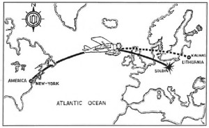 "Intended and actual paths of the ""Lituanica"" across the Atlantic Ocean."