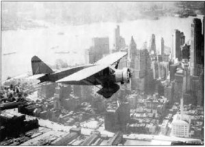 """Lituanica"" on a test flight over New York City"