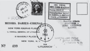 Darius and Girėnas are credited with initiating official air mail service between the United States and Europe. This is one of the letters they carried aboard, stamped July 15, 1933..