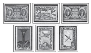 """Darius and Girėnas were honored with a set of postage stamps issued in Lithuania in 1934 (which includes one with the angel of death standing atop the wrecked """"Lituanica""""), as well as commemorative coins, banknotes, medals, and monuments. Schools, streets, and other landmarks were named after them. In the United States, Lithuanians also issued medals and erected monuments in their memory. In 1935 Petras Jurgėla wrote and published """"Winged Lithuanians — Darius and Girėnas."""""""
