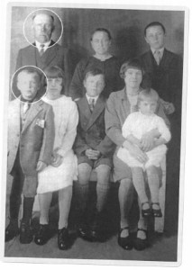 The only extant photograph of Vincas Stepšis (a.k.a. William Millar — rear), taken in 1930 in Scotland, with his family. Next to him are his wife Petronėlė (formerly Domeikienė) and Joseph Domeika. The author (aged 7) is in the front row, accompanied by sister Mary (on knee), half-sisters Alice and Ann, and half brother Peter