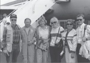 A group of local Lithuanians welcome Rimas Stankevičius (second from left) at the Everett Air Fair in Seattle, Washington, August 1990. Flanking him is Gediminas Morkūnas, Ina Bertulytė Bray (Chair of the Seattle chapter of the Lithuanian American Community, Inc., and author of this article), Valda Misiūnienė, Danutė Rakštienė, and Juozas Petkus.