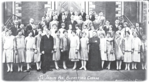 The church choir of St. Joseph Lithuanian Parish in Mahanoy City, Pennsylvania, (1926 photograph.)