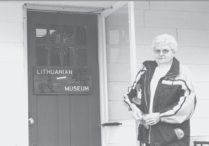"Bernice Mikatavage, a longtime resident of Minersville, and my expert guide and companion on our ""Lithuanian heritage tour."" She is standing outside the Knights of Lithuania Museum in Frackville."