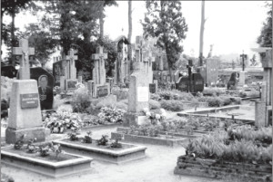 The well-tended cemetery, where several members of the Kiškūnas family are buried.