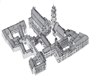 A sketch of the university's Old Town campus showing all buildings and courtyards.