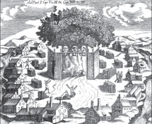 Romuva, or Baltic pagan temple, as shown in a 17th century engraving. Three gods can be seen under the large oak tree