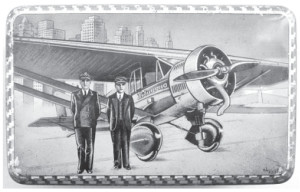 The image of the flyers next to their airplane appeared everywhere, even on tin lunch boxes.