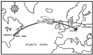 """The planned flight path of """"Lituanica"""" from New York to Kaunas, and the crash site in an East German forest; Newspapers across America reported the crash on their front pages; Stanley Girėnas' mother is being comforted by his brother; Speculations about the shooting of the plane by Nazis appeared soon after the accident."""