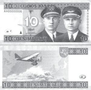The portraits of the two flyers and their airplane appear on the 10-litas banknote.