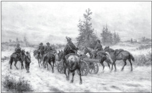 The Swedish army marches against Kėdainiai in the 18th century (painting by Josef Brandt)