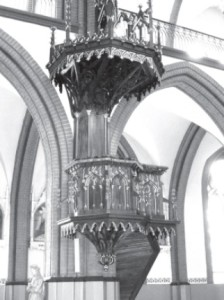 the beautifully carved pulpit.
