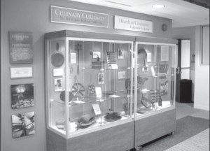 """One of the display cases at Kendall College's """"Culinary Curiosity"""" exhibition"""