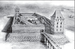 Krėva Castle, as it might have looked during Vytautas and Ona's time.