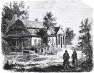 House where Kosciusko was born in the Mereczowszczyzna village, Grand Duchy of Lithuania (present-day Belarus). From 19th century engraving.