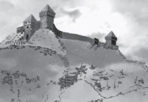 A reconstruction by A. Makauskaitė of how a castle might have looked on top of the Punia hillfort.