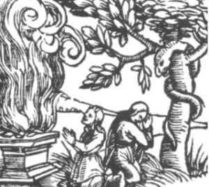 Early Lithuanians worshiping fire and snakes, as shown in this woodcut which appeared in a 16th century book.