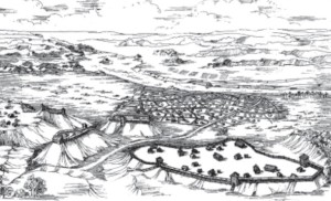 Fortifications were built on top of hill-forts, and towns began forming around them. (Reconstruction of how Kernavė may have looked in the 13th-14th centuries.)