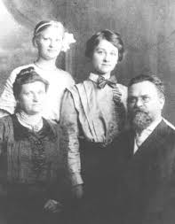 "Dr. Jonas Šliūpas and family around 1908 – first wife Liudvika (""Eglė"") Malinauskaitė and daughters Hypatia and Aldona. Son Kæstutis is not in the picture."