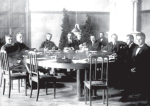 In this rare photograph, Dr. Jonas Šliūpas (second from left) is shown at the first conference between the representatives of the Baltic States and the Soviet Union in Dorpat (present-day Tartu, Estonia) in 1919.