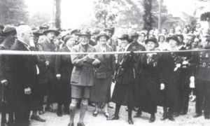 Boys Scouts founder Lord Robert Baden-Powell inaugurates a street in Palanga named after him, 1933. Lady Olave Baden-Powell is holding the ribbon.