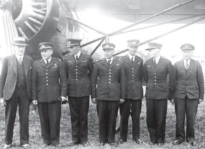 Crew of the trans-European flight near an AMBO airplane. (From left): Jurgis Savickis (a guest), Antanas Gustaitis, Jonas Liorentas, Juozas Namikas, Jonas Mikėnas, Romualdas Marcinkus, and Kazys Rimkevičius