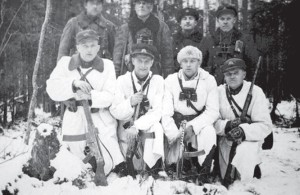 Partisans of the Dainava district in winter. Ramanauskas is third from left, front row.